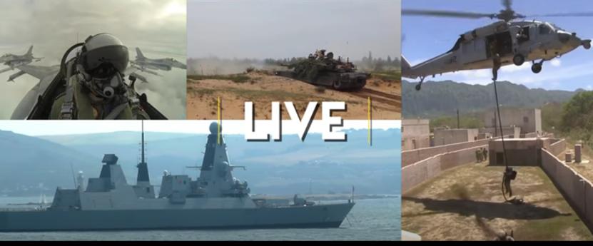 """美軍以""""實兵、虛擬與建構性""""(LVC)技術進行全球性整合演訓,圖爲實兵部分。(視頻截圖)"""