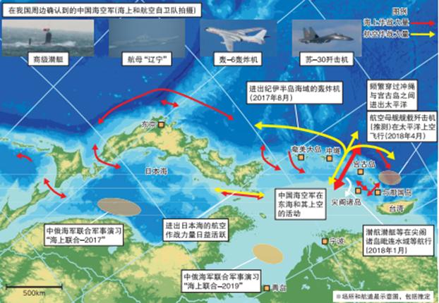 2019日本《防卫白皮书》把中国列为首要威胁。图为中国军队在日本周边频繁活动示意图。(日本防卫省)