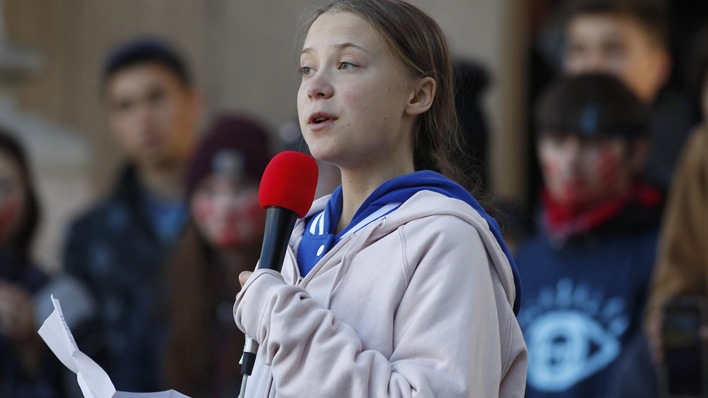 瑞典环保斗士格蕾塔启发全球青年气候运动,欧泓奕也受到她的激励。(美联社)