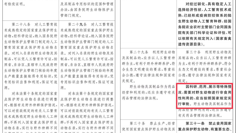 《野生动物保护法》修订草案允许野生动物用于药品。(翻摄自中国人大网)