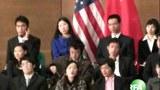 视频截图:上海学生代表与奥巴马会面的现场(RFA记者申铧摄)