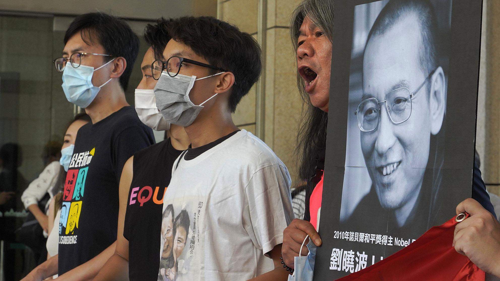 2020年7月13日,香港民众在纪念刘晓波逝世三周年。(美联社)