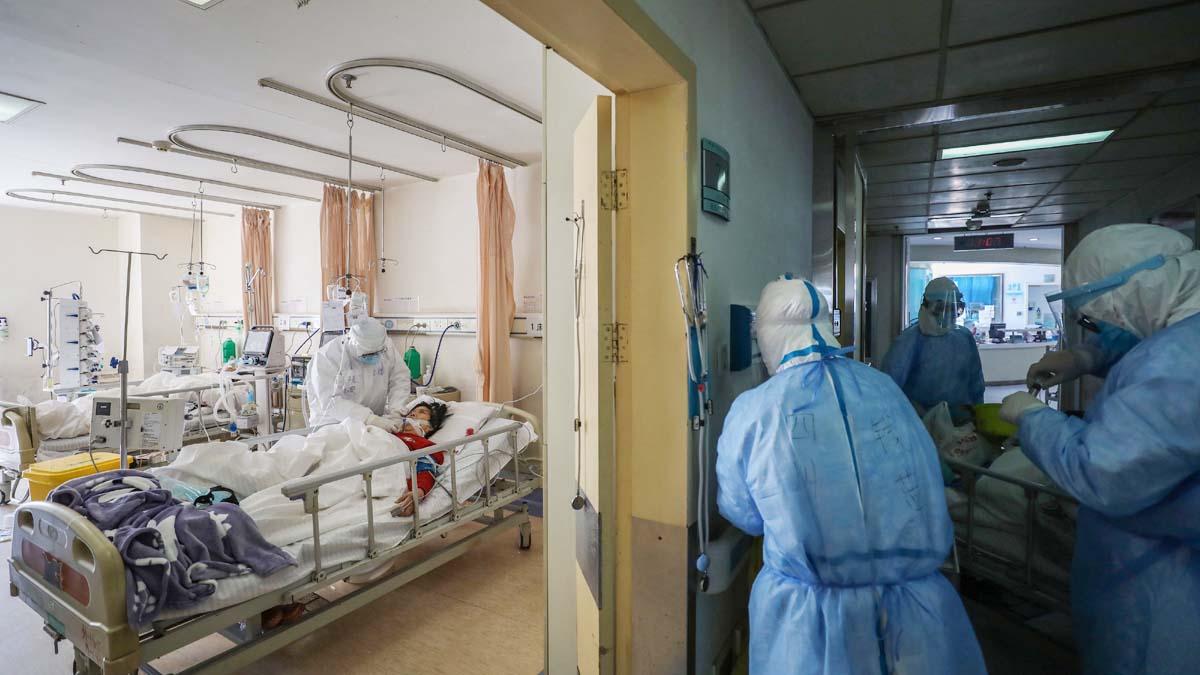 2020年2月16日武漢紅十字會醫院的隔離病房。(法新社)