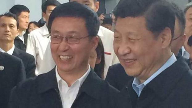 韩正(左)和习近平。(Public Domain)