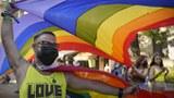 手舉彩虹旗的遊行民衆