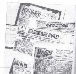 1920-Yillardin 1950-yillarghiche bolghan ariliqta sowét Uyghurliri üchün neshir qilin'ghan ereb, latin we kirél yéziqliridiki Uyghurche gézit-zhurnallar (menbe: munir érzin,