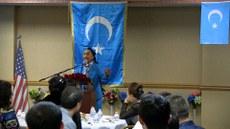 dunya uyghur qurultiyining aliy rehbiri rabiye xanim pa'aliyette sözlimekte