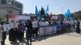 Istanbuldiki Uyghurlar 2022-yilliq béyjing olimpik musabiqisige qarshi namayish élip bardi