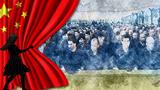 Хитай һөкүмитиниң уйғурларға қаратқан ирқий қирғинчилиқиға атап ишләнгән картон.