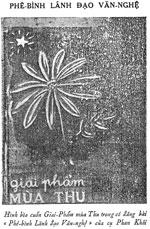 Hình bìa cuốn Giai phẩm Mùa Thu. Trích sách Trăm Hoa Đua Nở trên Đất Bắc.