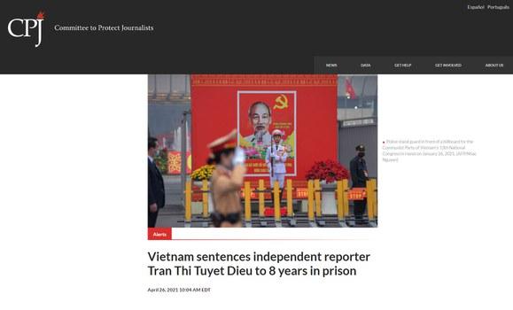 CPJ kêu gọi trả tự do ngay lập tức và vô điều kiện cho nhà báo Trần Thị Tuyết Diệu.