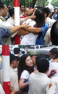 Cô Huỳnh Thục Vy bị bắt một cách thô bạo ngày 1 tháng 7, 2012. TTCCT/danlambao