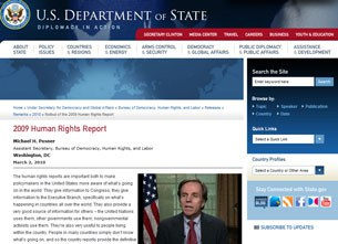 Bản báo cáo về tình hình nhân quyền và tự do tôn giáo trên toàn thế giới năm 2009 do Bộ Ngoại giao Hoa Kỳ công bố trên website.