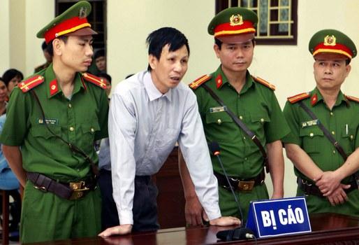 Nhà hoạt động Nguyễn Văn Túc tại phiên tòa sơ thẩm ở tỉnh Thái Bình ngày 10 tháng 4 năm 2019.