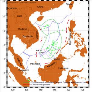 Bản đồ khu vực tranh chấp biển Đông . Source US -DOD map