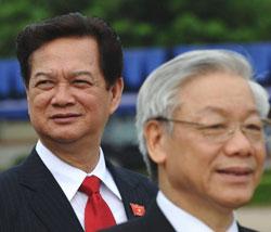 Thủ tướng Nguyễn Tấn Dũng và Tổng bí thư Nguyễn Phú Trọng. AFP photo