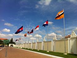 Quốc kỳ các nước ASEAN bên ngoài trụ sở họp hội nghị - RFA photo