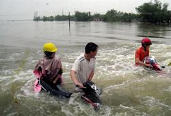 Nước ngập cả xe gắn máy ở Huyện Cẩm Xuyên, tỉnh Hà Tĩnh vào chiều ngày 17/10/2010. AFP PHOTO.