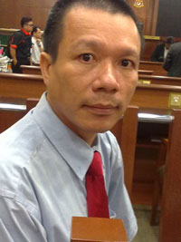 Ông Vũ Quang Thuận tại phiên tòa ở Kuala Lumpur hôm 1/10/2010. Hình do thính giả RFA gửi.