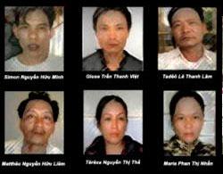 Sáu giáo dân bị đưa ra tòa anh Nguyễn Hữu Minh, anh Trần Thanh Việt,  anh Lê Thanh Lâm, anh Nguyễn Hữu Liêm, chị Nguyễn Thị Thế, và chị Phan Thị Nhẫn (Từ trái, trên xuống)
