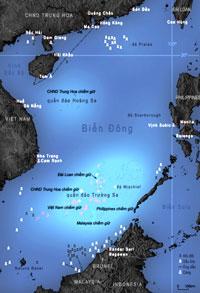 Bản đồ khu vực Biên Đông đăng trên Wikipedia