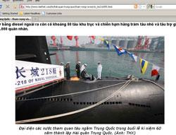 Đại diện các nước tham quan tàu ngầm Trung Quốc trong buổi lễ kỷ niệm 60 năm thành lập Hải quân Trung Quốc. Hình chụp từ trang web biethet.com