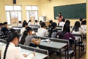 Một lớp học ở Đại Học Văn Hóa, Hà Nội.