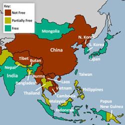 Bảng xếp hạng về mức độ tự do ở châu Á của Freedom House.