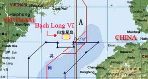 Vị trí của Bạch Long Ví (điểm màu vàng)