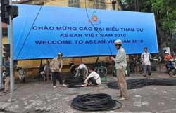 Các công tác chuẩn bị cho Hội nghị Asean 16 đang hoàn thành, ảnh chụp hôm 05-04-2010. AFP PHOTO.