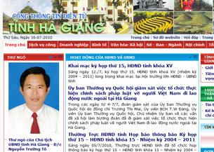 Ảnh chân dung ông Nguyễn Trường Tô vẫn được đưa lên bìa trang web của UBND tỉnh Hà Giang