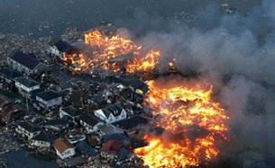 Những đám cháy đang lan rộng ở thành phố Natori, tỉnh Miyagi .