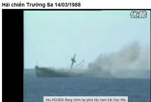 Trận hải chiền năm 1988, trước hỏa lực mạnh mẽ của hải quân TQ tàu HQ 604 của quân chủng HQVN đa bị bắn chìm.