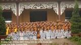 400 tăng, ni, cư sĩ chụp hình lưu niệm ngày Tự Tứ trước sân chính của Thiền Đường CĐB