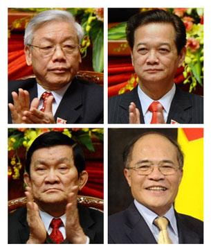 Các ông Nguyễn Phú Trọng, Nguyễn Tấn Dũng, Trương Tấn Sang, Nguyễn Sinh Hùng (từ trái qua phải từ trên xuống). Ảnh AFP
