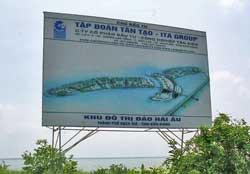 Bảng quảng cáo Khu đô thị mới tại Khu lấn biển Rạch Giá, Kiên Giang. Photo courtesy of danlentieng.net