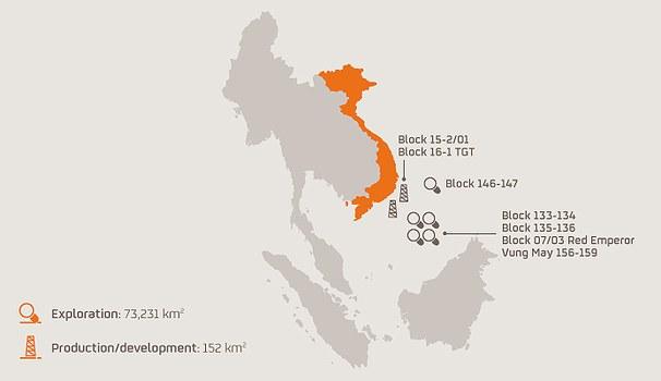 Bản đồ cho thấy các khu vực / lưu vực nơi Repsol có hoạt động thăm dò hoặc phát triển.