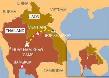 Tuyến đường được sử dụng để trục xuất người Hmong từ Thái Lan về Lào. Graphic: RFA