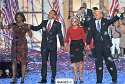 Liên danh Barack Obama - Joe Biden giành chiến thắng trong cuộc đua vào Tòa Bạch Ốc năm 2008. AFP PHOTO