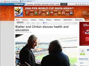 Cựu TT Clinton và ông Blatter, World Cup 2010. Ảnh minh họa