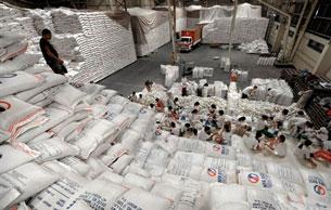 Giá gạo trên thế giới tăng đáng kể. AFP