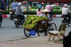 Một người bán chuối dạo ở TPHCM hôm 01/06/2010. RFA photo.