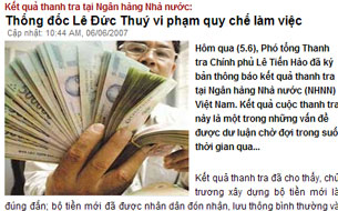 Báo chí Việt Nam cũng đã từng lên tiếng cảnh báo về những sai phạm trong vụ in tiền polymer. Screen capture. RFA