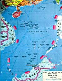 Bản đồ hình lưỡi bò do Trung Quốc công bố xác định chủ quyền trên biển Đông. Photo courtesy of nguoiviettynan.net