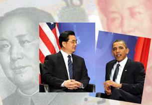 Chủ tịch Trung Quốc Hồ Cẩm Đào và Tổng thống Hoa Kỳ Barack Obama. Ảnh minh họa