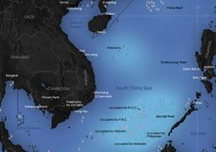 Biển Đông, các khu vực và tài nguyên tranh chấp giữa các nước.