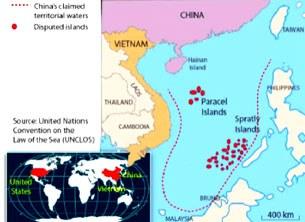 Bản đồ cho thấy vùng biển Trung Quốc muốn làm chủ