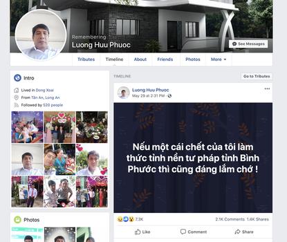 Ảnh chụp màn hình Facebook của ông Lương Hữu Phước vào tối ngày 1/6/2020.