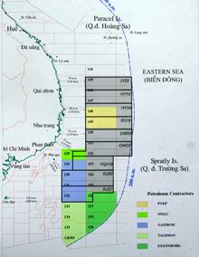 Những lô dầu đã phân định trong vùng đặc quyền lãnh hải Việt Nam- PVN graphic