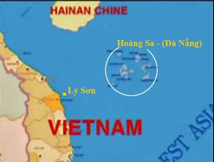 Bản đồ đảo Lý Sơn và quần đảo Hoàng Sa. RFA screen capture